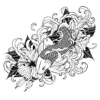 Pez koi e hibiscus tatuaje a mano dibujo.