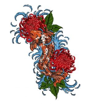 Pez koi con tatuaje de crisantemo vector a mano dibujando