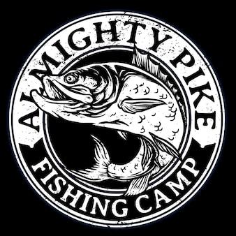 De pez lubina o pargo rojo para el logotipo de la insignia del torneo de pesca