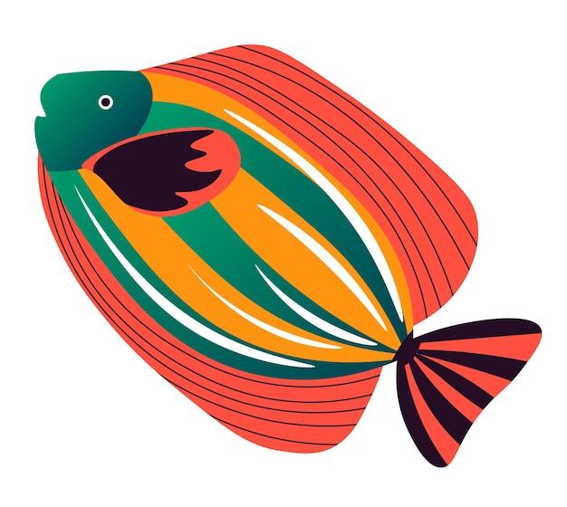 Pez mariposa de mar u océano con manchas de colores en el cuerpo y las aletas. habitante submarino aislado, icono aislado de criatura de acuario. naturaleza y vida silvestre, peces coralinos flotantes acuáticos. vector en estilo plano