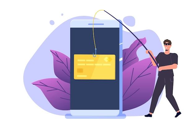 Phishing de datos, estafa de piratería en línea en concepto de computadora portátil.
