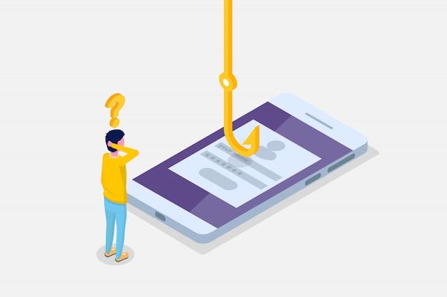 El phishing de datos isométrico, hackear estafa en línea en concepto de teléfono inteligente. pesca por correo electrónico, sobre y anzuelo. ladrón cibernético. ilustración vectorial