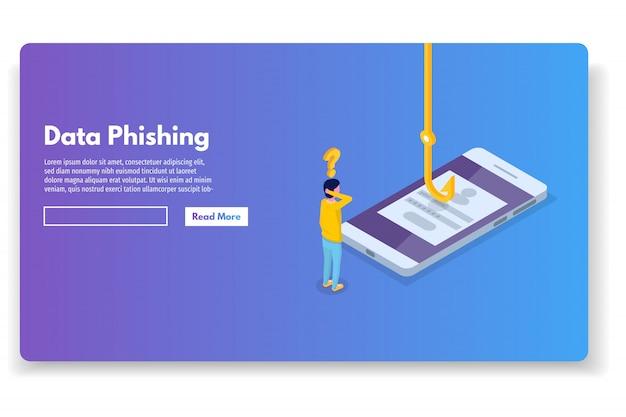 Phishing de datos isométrico, pirateo de estafas en línea. pesca por correo electrónico, sobre y anzuelo. ladrón cibernético. ilustración vectorial