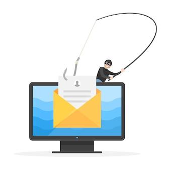Phishing de datos, piratería de correo electrónico, estafa en línea, delitos en internet. robo y ataque criminal de ladrón, pirata informático robando documento de correo privado con ilustración de vector de gancho de pesca aislado sobre fondo blanco