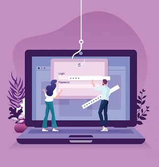 Phishing de datos, piratería en línea en concepto de computadora portátil