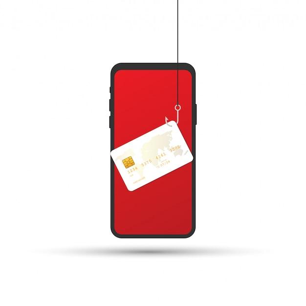 Phishing de datos, tarjeta de crédito o débito en anzuelo, seguridad en internet. ilustración vectorial