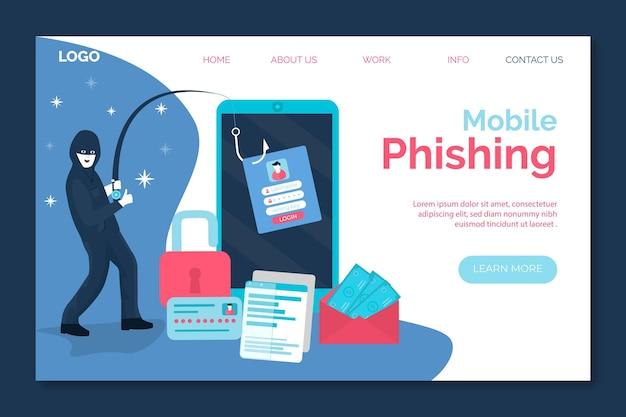 Phishing móvil y ladrón robando la página de inicio