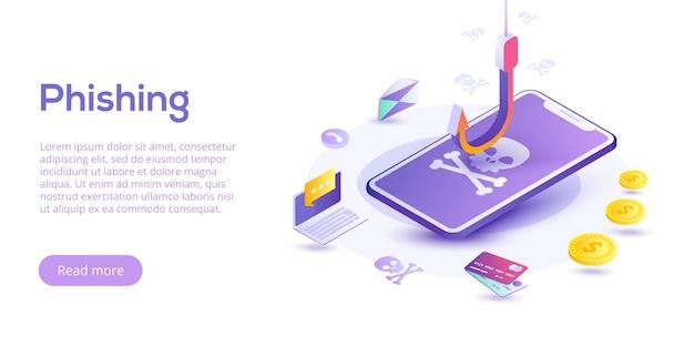 Phishing a través del concepto isométrico de internet. mensajes de falsificación o pesca por correo electrónico. hackear tarjetas de crédito o sitios web de información personal. ataque a una cuenta bancaria cibernética.