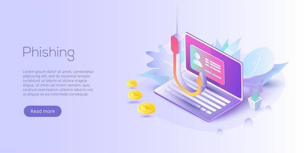 Phishing a través de la ilustración de concepto de vector isométrico de internet
