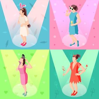Photo booth props concept 4 iconos festivos isométricos con chicas posando con accesorios de fiesta