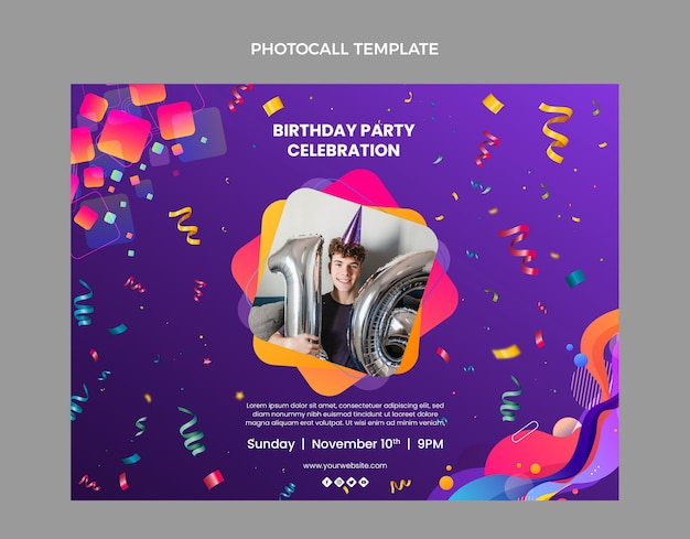 Photocall de cumpleaños colorido degradado
