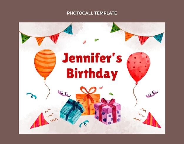 Photocall de cumpleaños dibujado a mano en acuarela