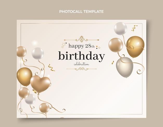 Photocall de cumpleaños dorado de lujo realista