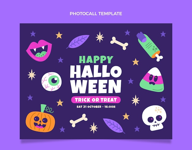 Photocall de halloween de diseño plano dibujado a mano