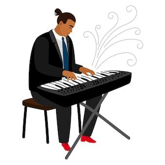 Pianista de jazz juega en personaje de dibujos animados de sintetizador