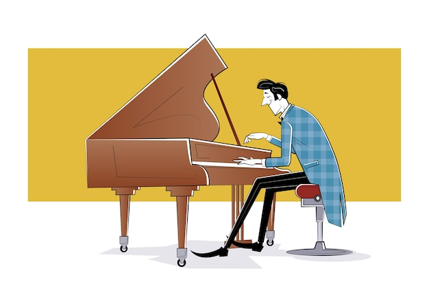 El pianista se sienta al piano y toca música. ilustración de boceto
