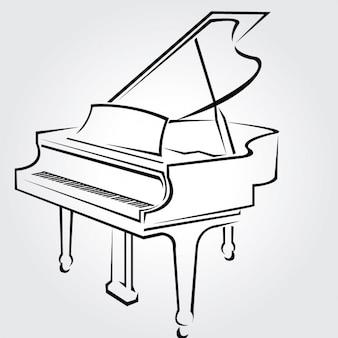 Piano clásico dibujado