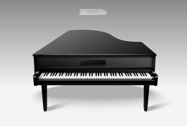 Piano de cola negro realista.