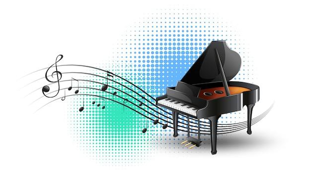 Piano de cola con notas musicales en segundo plano.