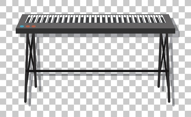 Piano electrónico con soporte metálico aislado sobre fondo transparente