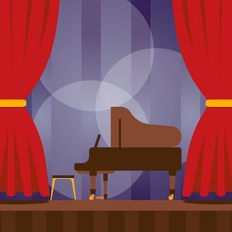 Piano en el escenario, ilustración. concierto musical, evento de noche de cultura clásica. cartel del anuncio del festival de música, escenario con piano listo para concierto