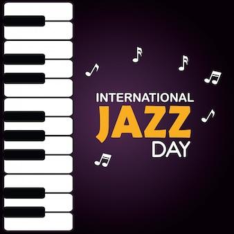 Piano con notas musicales y día de jazz.