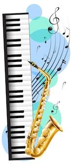 Piano y saxofón con notas musicales en segundo plano.
