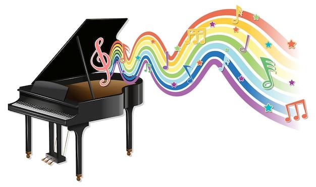 Piano con símbolos de melodía en la onda del arco iris