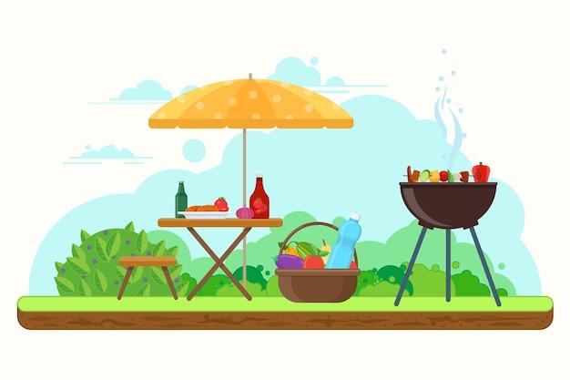 Picnic con barbacoa en el jardín con comida y bebida