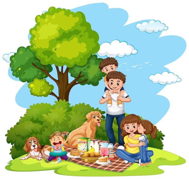 Un picnic familiar en la ilustración del parque.