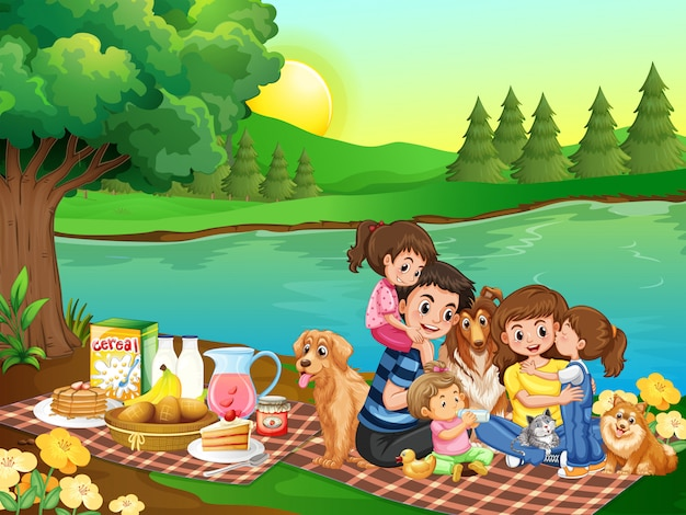 Un picnic familiar en el parque.