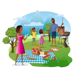 Picnic familiar en vector de dibujos animados del parque nacional