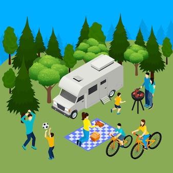 Picnic familiar verano composición isométrica al aire libre con camper en bosque barbacoa almuerzo ciclismo jugando pelota ilustración vectorial