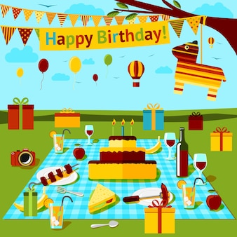 Picnic de feliz cumpleaños con diferentes comidas y bebidas, regalos, piniata, vista al campo. vector
