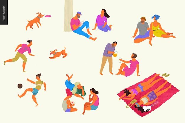 Picnic del festival del parque de personas, colorido
