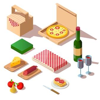 Picnic isométrico con pizza y vino.