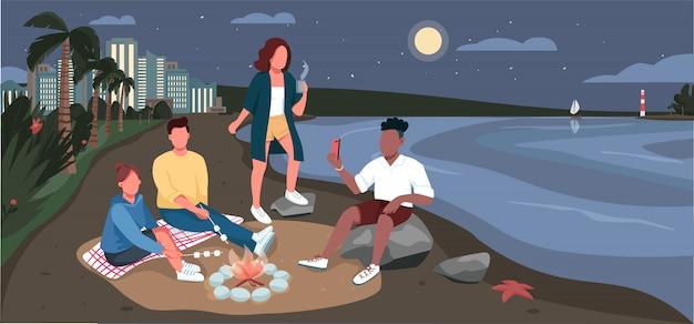 Picnic de noche de amigos en la ilustración de color de playa