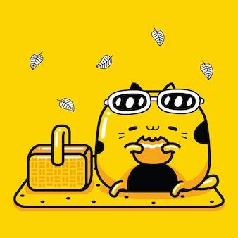 Picnic de personaje de mascota de gato lindo en estilo de dibujos animados plana