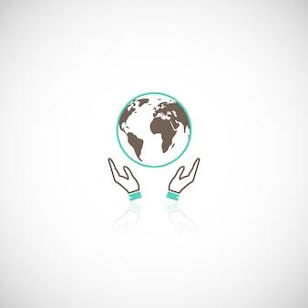 Pictograma de logotipo de emblema de apoyo humano global de la tierra global con ilustración de vector de reflexión gráfica de manos