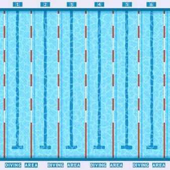 Pictograma plano de la vista superior de la piscina