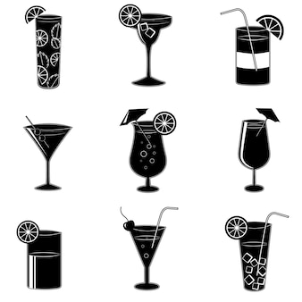 Pictogramas de cócteles de fiesta con alcohol.