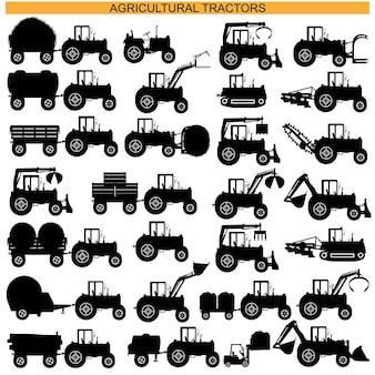 Pictogramas de tractor agrícola aislado sobre fondo blanco.
