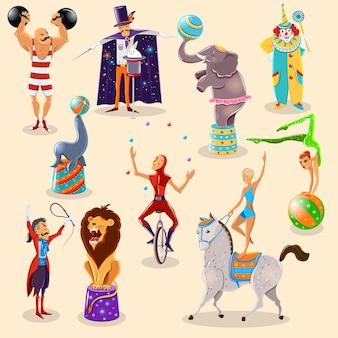 Los pictogramas del vintage del circo fijaron la disposición