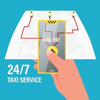 Pide un taxi por teléfono y a través de la aplicación móvil. mapa con navegación gps.