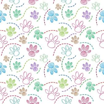 Pie de mascota perro dibujar patrones sin fisuras