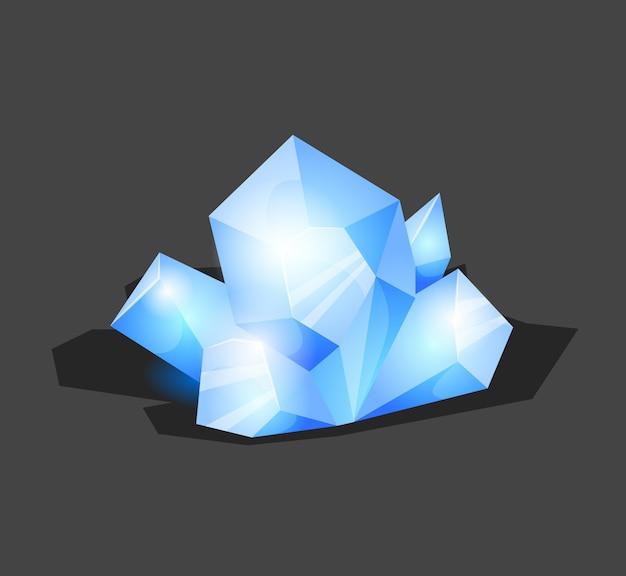 Piedra cristalina o gema y piedras preciosas para joyería. símbolo de cristal simple con reflejo. icono de dibujos animados como decoración para juegos. vector aislado azul