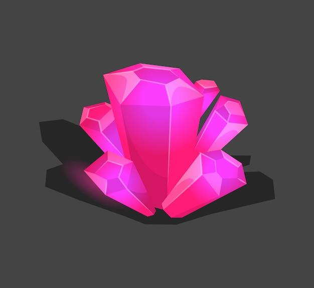 Piedra cristalina o gema y piedras preciosas para joyería. símbolo de cristal simple con reflejo. icono de dibujos animados como decoración para juegos. vector aislado violeta