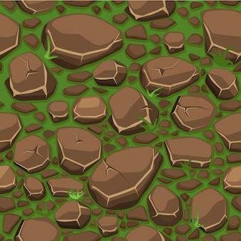 Piedra de dibujos animados sobre textura de hierba en fondo transparente de colores marrones, vista desde arriba
