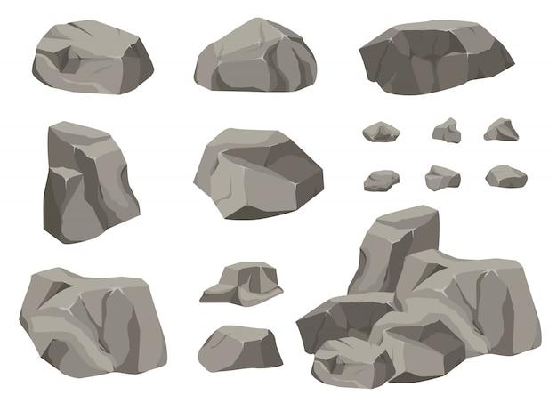 Piedra de roca gran conjunto de dibujos animados.