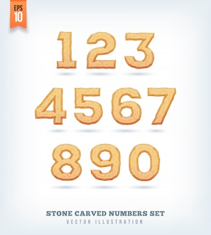 Piedra tallada letras, números y símbolos de tipo de letra. ilustración.